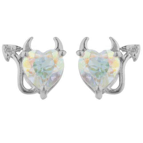 Mercury Mystic Topaz /& Diamond Devil Heart Stud Earrings White Gold Silver