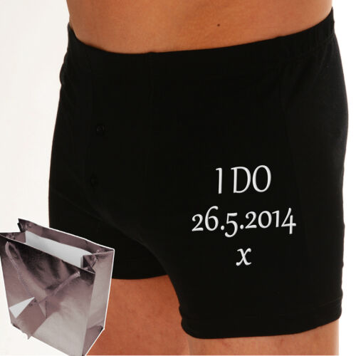 """Personalised Boxer shorts /""""PROPERTY OF MRS-----?/"""" Embroidered Wedding Groom gift"""