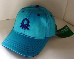 BENETTON-LA-BELLA-BORS-Blue-Nylon-Hat-Cap-Womens-Size-Medium-NEW-NWT