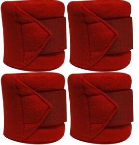 RED-Fleece-Polo-Leg-Wraps-Set-of-Four-NEW-HORSE-TACK
