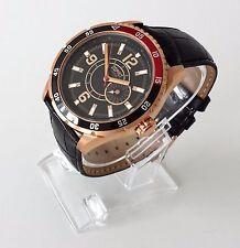 Esprit Herren Uhr Varsity schwarz kupferfarben rot Leder Datum ES104131005