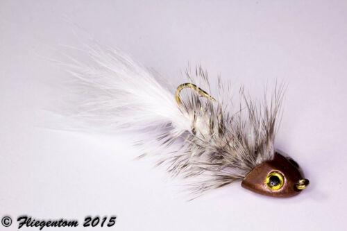 Krystal weiß Fliegentom Streamer 3 Stück Wooley Bugger Koppe