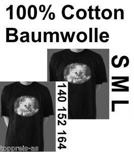 KATZEN-T-SHIRT-KATZE-CAT-RETRO-S-M-L-SCHWARZ-WEIss-100-Baumwolle-140-152-164