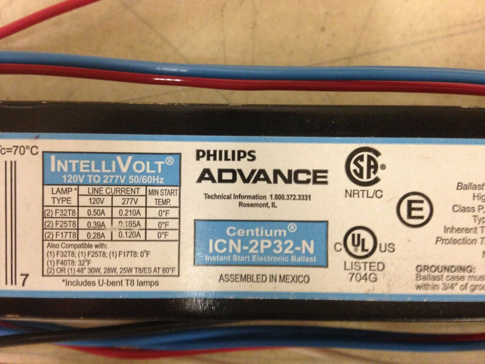 5x PHILLIPS ADVANCE Centium ICN-2P32-N Electronic Ballast,T8 Lamps,120V-277V NEW