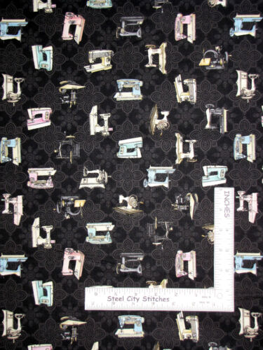 Sewing Machine Vintage Toss Black Cotton Fabric QT Cute As A Button By The Yard