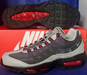 Details about Nike Air Max 95 Essential Silver Cool Grey University Red SZ 9 ( 749766 006 )