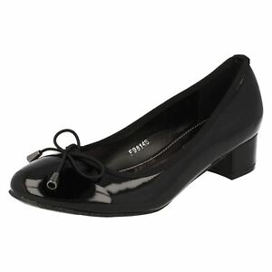 IndéPendant Spot On F9r814 Femmes Black Patent Court Shoes (r13b)-afficher Le Titre D'origine