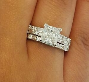 2 Ct Princess Cut Enement Rings | 14k Solid White Gold 2 Ct Princess Cut Diamond Engagement Ring Set
