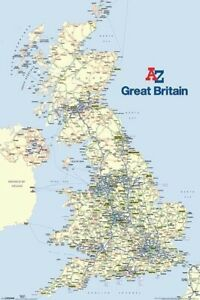 A Z Map Of England.Details About Geography Poster Great Britain A Z Map 24x36 Uk Scotland England Ireland 33047