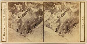 Suisse Ghiacciaio Da Grindelwald c1865 Foto A. Braun Stereo Vintage Albumina