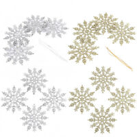 24Pcs Christmas Snowflakes Xmas Tree Decorations Ornaments 12CM Gold + Silver