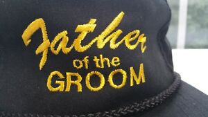 2a3057a9ff9 Image is loading Vintage-FATHER-OF-THE-GROOM-Braided-Snapback-Trucker-