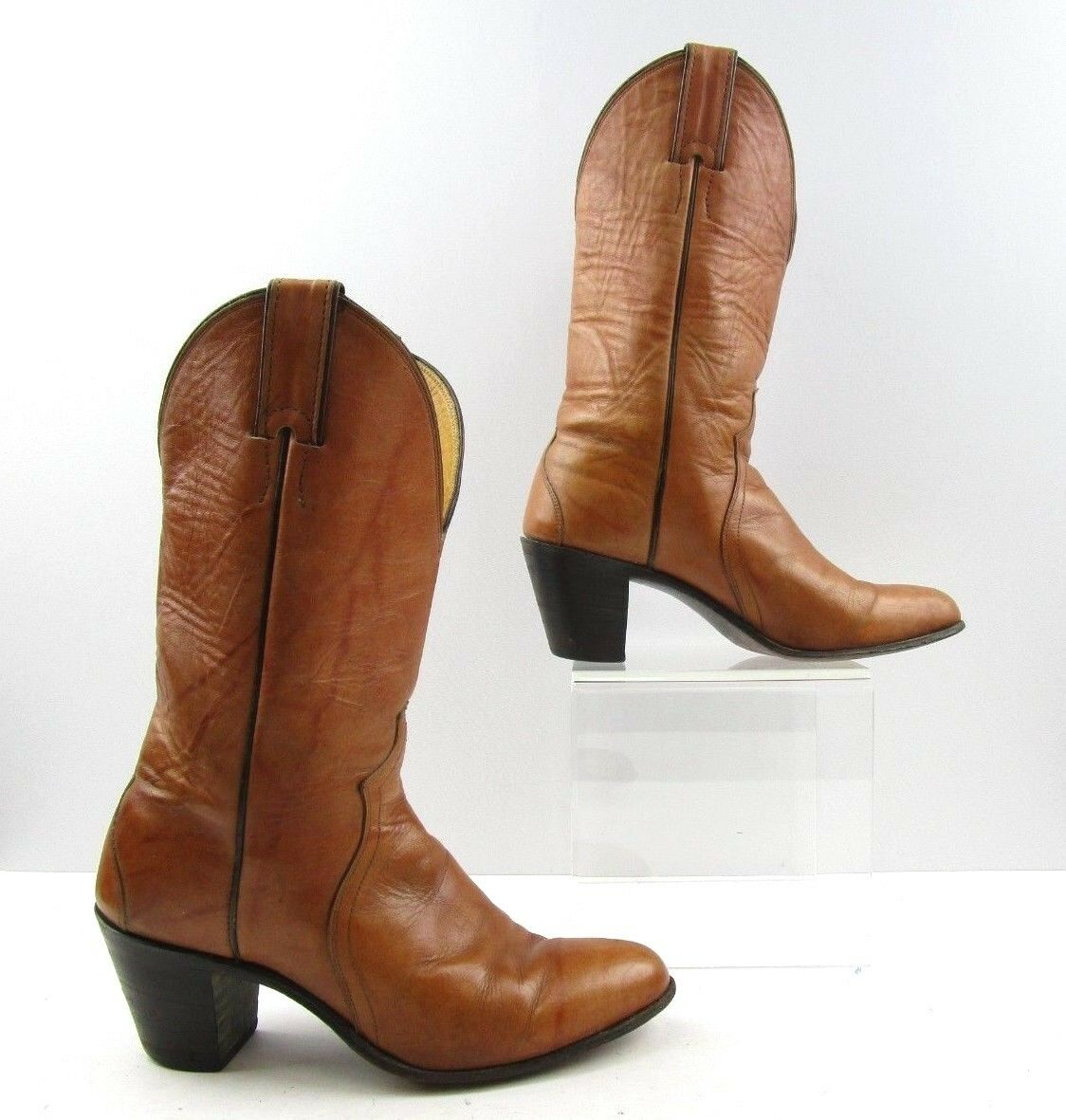 Damas Tacón apilados Justin marrón cuero botas de vaquero occidental Talla  6.5 B