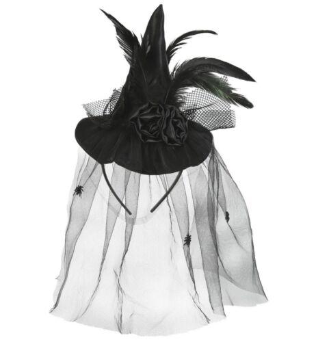 Kostüm Zubehör Mini Hexenhut mit Schleier Halloween Hexe Fri