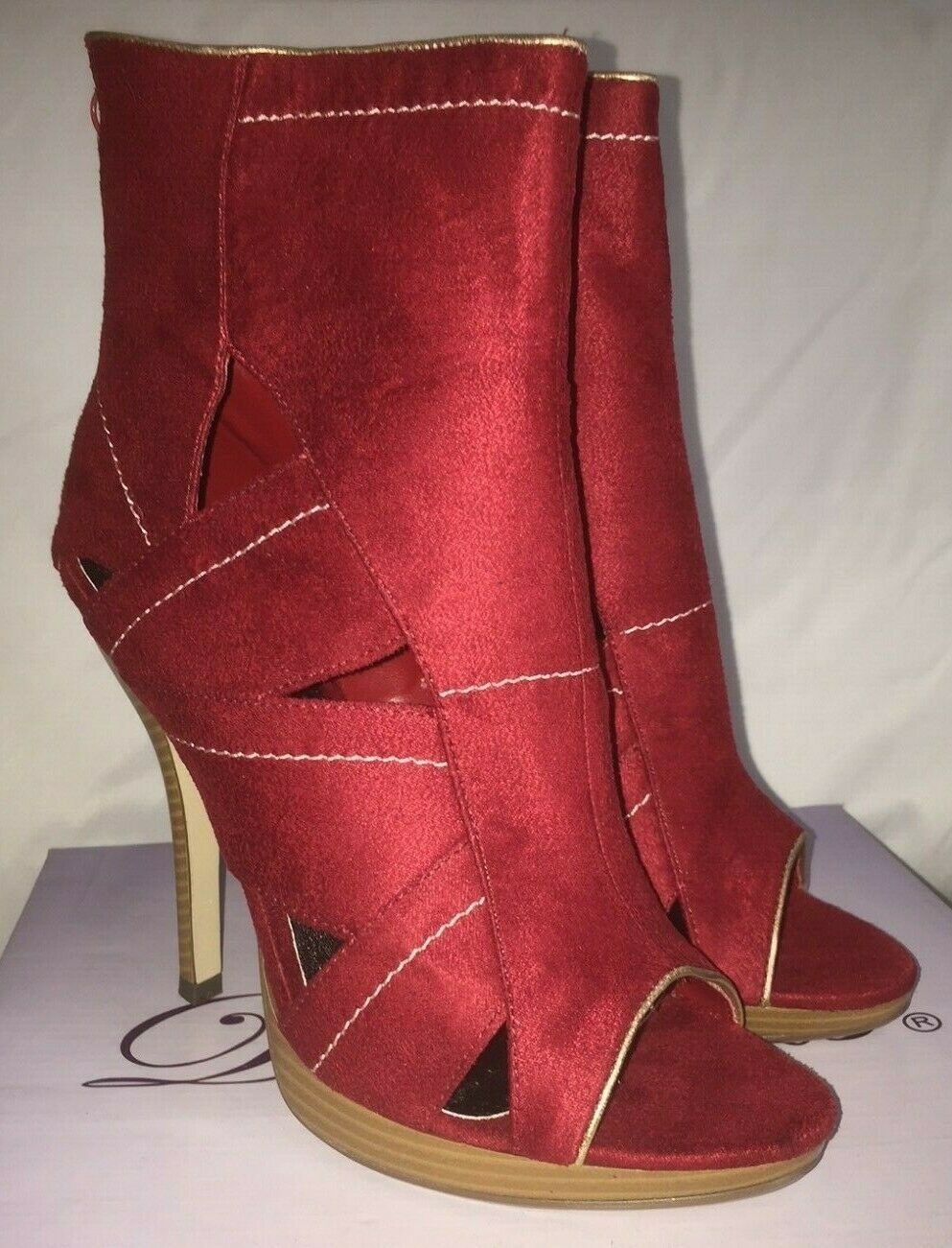 NIB Women's Delicious Gabriel Red High Heel Platform Ankle Booties Size 8.5