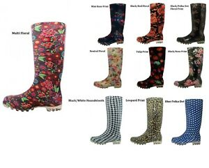 WOMEN-UNLINED-ASSORTED-PRINT-RUBBER-RAIN-BOOTS-6-7-8-9-10-11