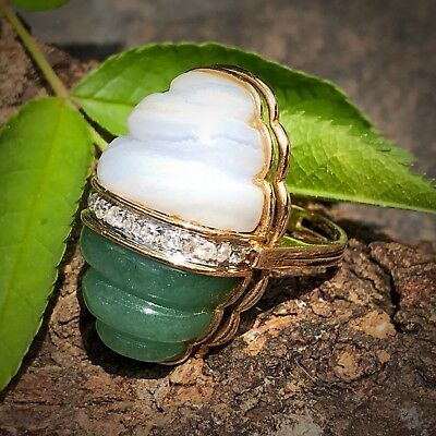 14K Yellow Gold Carved Aventurine Lavender Banded Agate Diamond Beehive Ring