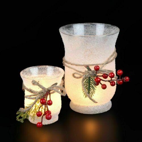 Xmas Glas Griff  Beeren Windlicht Weihnachten Winter Kerzenleuchter Teelicht NEU