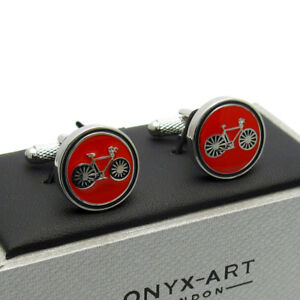 Details about Racing Bike Cycle Cycling Cufflinks by Onyx Art In Smart Box  Red CK973