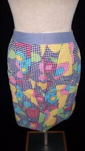 vintage-half-apron-21-inch-blue-yellow-floral-checks-handmade-patchwork-1960s