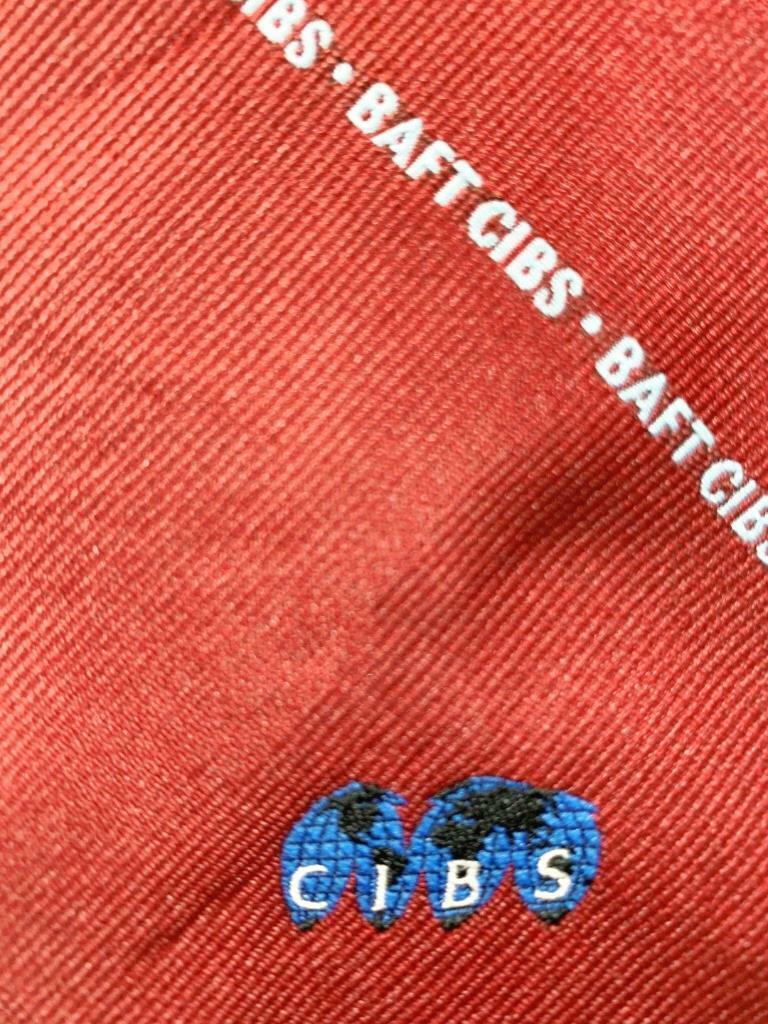 Wembley Baft Cibs Logo Streifen Rot Silber Poly Krawatte MAP1421B #R07