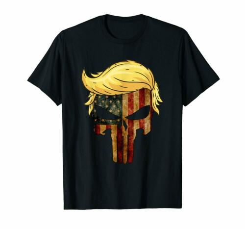 Black Skull with iconic Trump Hair president Flag America Tshirt 100/% Cotton