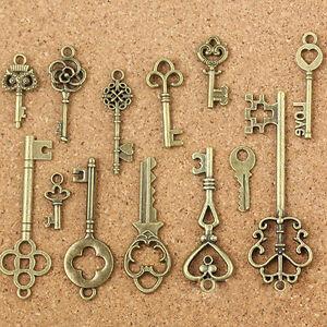 13Pcs-set-Vintage-Bronze-Key-Accessaries-DIY-Pendant-Metal-Charms-Decorations-CN