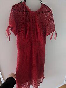 Womens-Chi-Chi-London-red-pencil-dress-size-UK16