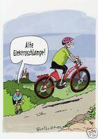 Postkarte, Cartoon / Satire, Fahrrad, E-bike, alte Elektroschlampe