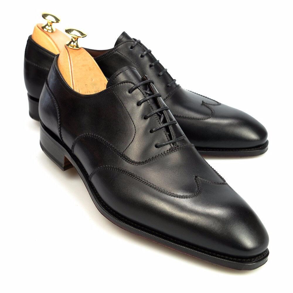 Handmade men nero leather scarpe, men dress scarpe, wingtip oxford scarpe for men