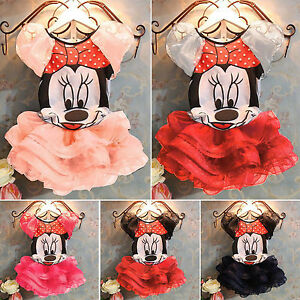 Newborn-Baby-Girl-1st-Birthday-T-shirt-Minnie-Paty-Tutu-Tulle-Skirt-Dress-Outfit