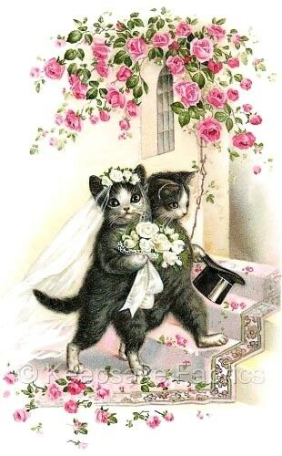 Adorable Cats Wedding Crazy Quilt Block Multi Sizes FrEE ShiPPinG WoRld WiDE