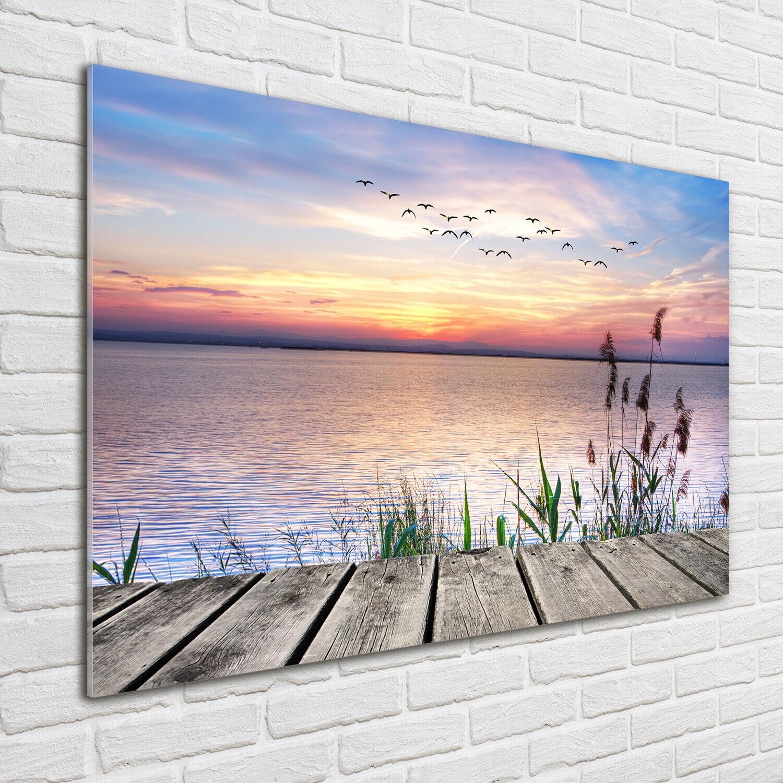 Wandbild aus Plexiglas® Druck auf Acryl 100x70 Landschaften See Sonnenuntergang