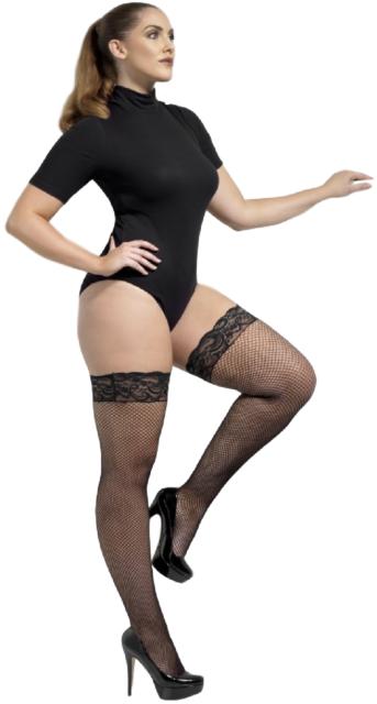 DONNA SEXY TAGLIE FORTI Nero Rete Mesh Costume Calze Autoreggenti