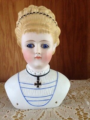 Empress Augusta Alt Beck & Gottschalk Molded Hair Glass Eyes Parian Doll Head