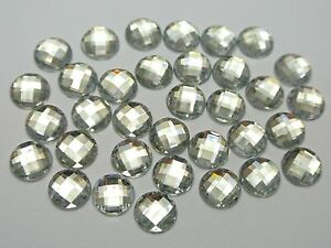 200-Clear-Acrylic-Flatback-Faceted-Round-Rhinestone-Gems-10mm-No-Hole