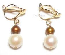 Genuine White & Brown Pearl 18K YGP Clip On Earrings