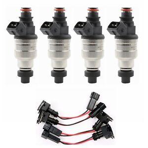 Fuel-Injectors-1200cc-4pcs-Low-Impedance-for-Honda-B-D-H-Series-VTEC-Free-Clips
