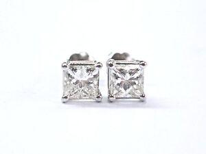 Fine-Princess-Cut-Diamond-Stud-White-Gold-Screw-Back-Earrings-1-12Ct-1-12Ct