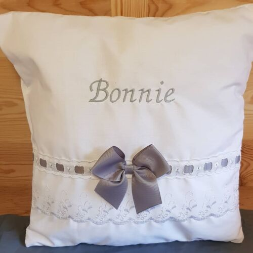 Personalised baby embroidered broderie angliase cushion pillow BABY SHOWER