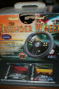 PS1-THUNDER-WHEEL-WITH-FOOT-PEDALS-by-NAKI-Need-For-Speed-2-amp-3-Games-COMPLETE
