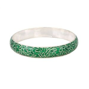 925-solid-Sterling-Silver-Handmade-Enamel-Work-Bangle-For-women-Free-Shipping