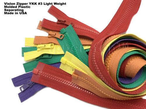 12 Inches Vislon Zipper YKK #3 Light Weight Molded Plastic Separating Made USA