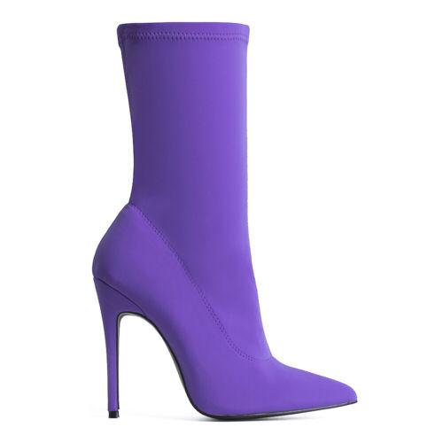 Femme Dames Slip on Chaussette Talons Hauts Stiletto Pointu Cheville Bottes Chaussures Taille