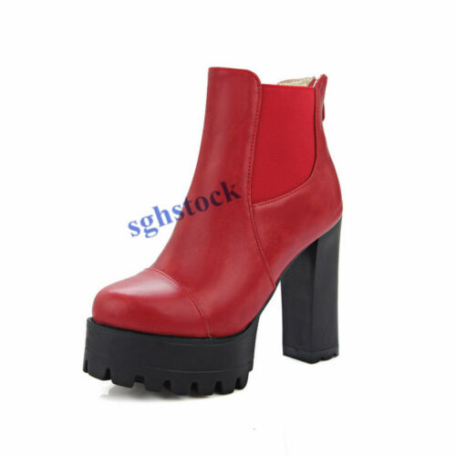 Women/'s Ankle Boots Block Heels Zipper Platform Shoes PU Leather CAasual Shoes