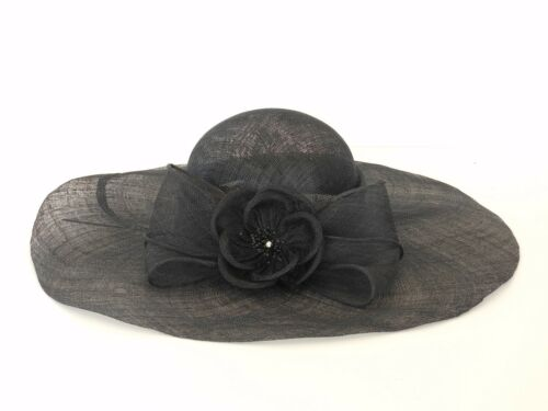 New Church Kentucky Derby Wedding Sinamay Wide Brim Dress Hat SDL-006 Black