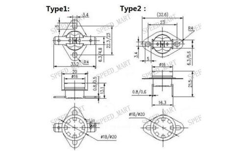 2 pcs Temperature Switch Control Sensor Thermal Thermostat 160°C N.C KSD301