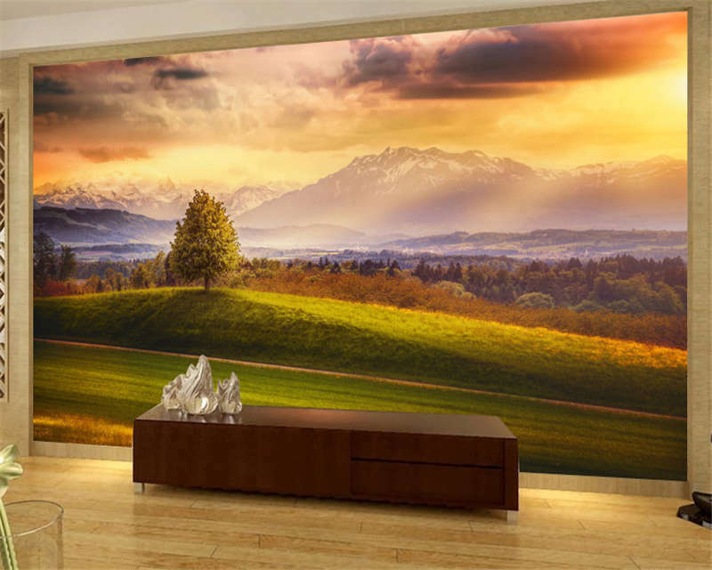 Switzerland Meadows Mountain Full Wall Mural Photo Wallpaper Print Home 3D Decal
