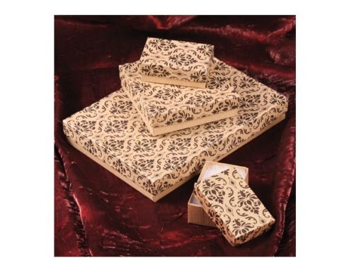 LOT of 20~50~100~500Pcs KRAFT DAMASK GIFT BOXES COTTON FILLED BOXES foo JEWELRY