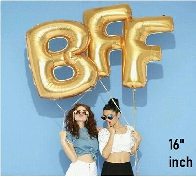 "16/"" Gold BFF Letter Script Foil Ballon Express Best Friend Forever Party Decor"
